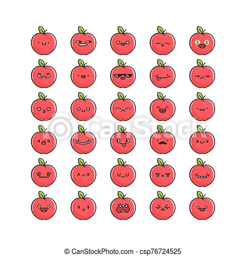 Collection Of Kawaii Apple Emoticons Cartoons Isolated On White