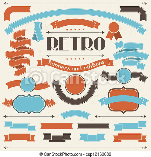 Collection of labels and ribbons in retro vintage style. - csp12160682