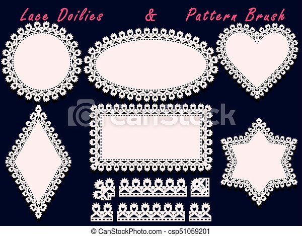 Collection of lace doilies and pattern brush. for laser cutting ...