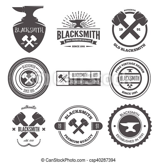 Collection of logo, elements or logotypes for blacksmith and shop - csp40287394
