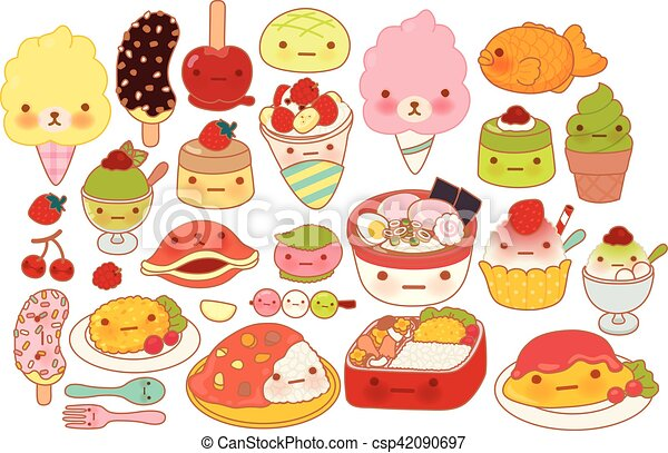 Collection of lovely baby japanese food doodle icon, cute omelette, adorable dessert, sweet choco banana, kawaii pudding, girly ramen in childlike manga cartoon isolated on white - csp42090697