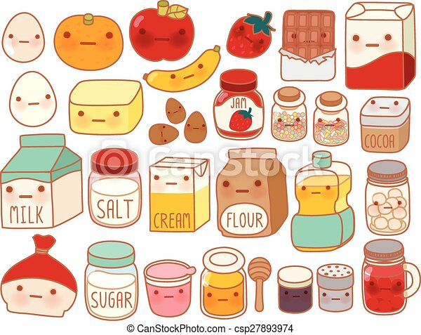 Collection of lovely cake ingredient icon , cute egg , adorable milk , sweet flour , kawaii strawberry, girly butter Isolated on white in childlike manga cartoon style  - csp27893974