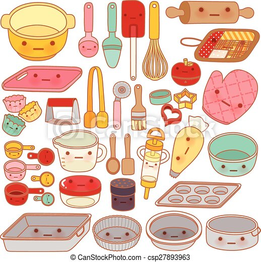 Collection Of Lovely Pastry Tool And Equipment Cute