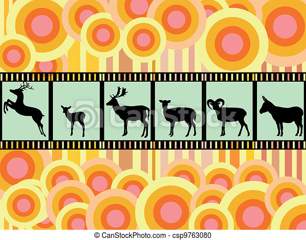 collection of many animals-silhouet - csp9763080