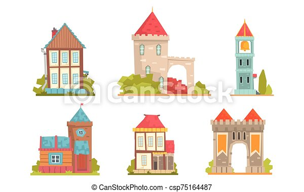 Collection of medieval buildings in the European style. Vector illustration. - csp75164487