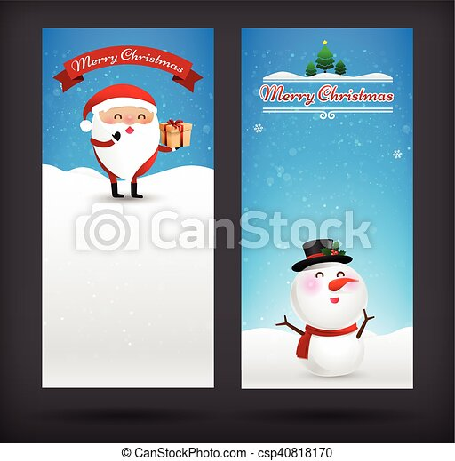 Collection Of Merry Christmas Card Template With Copyspace Vector