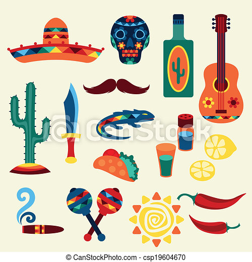 Collection of mexican icons in native style. - csp19604670