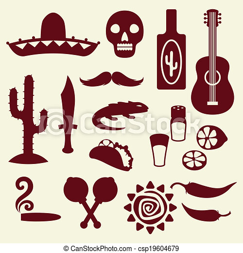 Collection of mexican icons in native style. - csp19604679