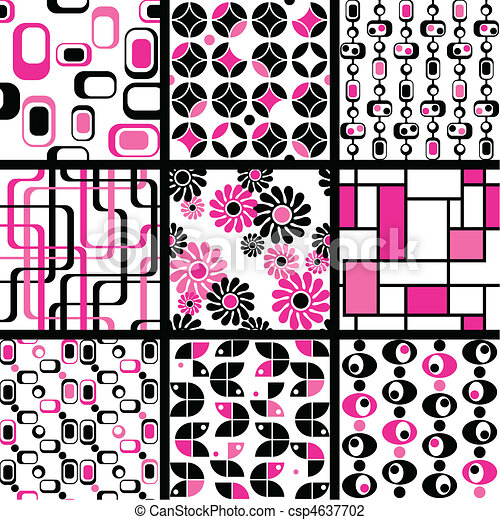 Collection of mod seamless patterns - csp4637702