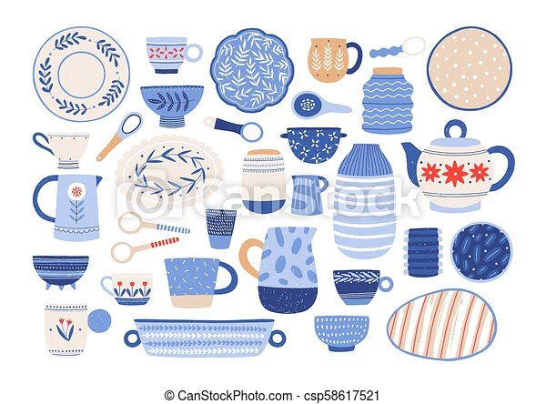 Collection Of Modern Ceramic Kitchen Utensils Or Crockery Cups Dishes Bowls Pitchers Set Of Decorative Tableware Items