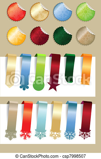 Collection of modern Christmas stickers with snowflakes - csp7998507