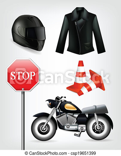 Collection of motorcycle objects including helmet, jacket, traffic cones, stop sign and motorbike . Clip-art, Illustration. - csp19651399