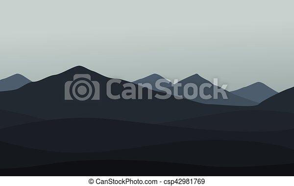 Collection of mountain landscape vector - csp42981769