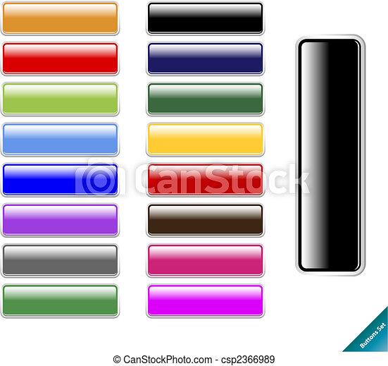 Collection of multi colored glossy internet buttons.Easy to edit, any size, aqua web 2.0 style. - csp2366989