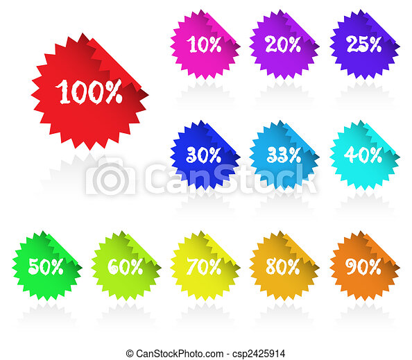 Collection of multicolored sticky discount label for marketing, promotion. - csp2425914
