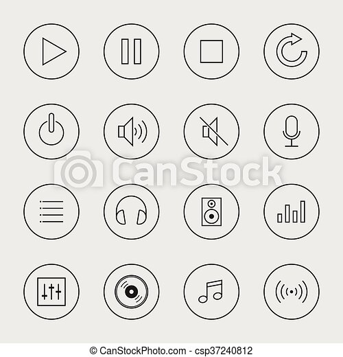 Collection of music icon isolated vector illustration - csp37240812