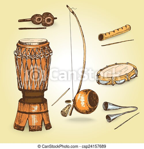 Collection of musical instruments of capoeira. - csp24157689