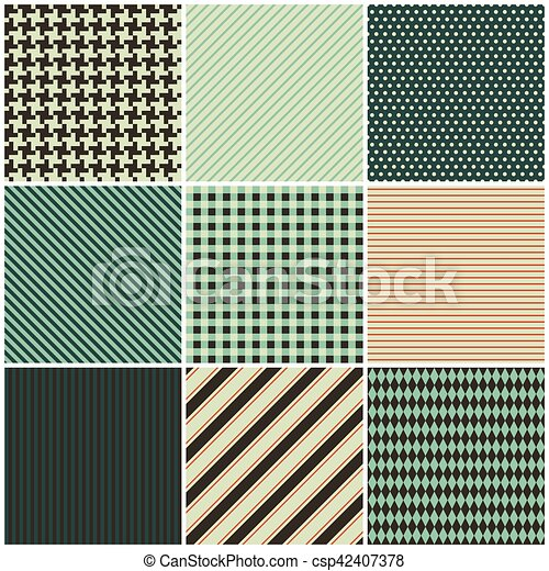 collection of nine seamless patterns for the fabric - csp42407378
