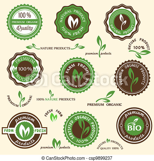 Collection of organic labels and icons - csp9899237