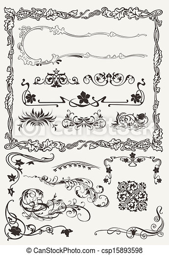 Collection of Ornamental Borders And Elements in Ancient Design styles - csp15893598