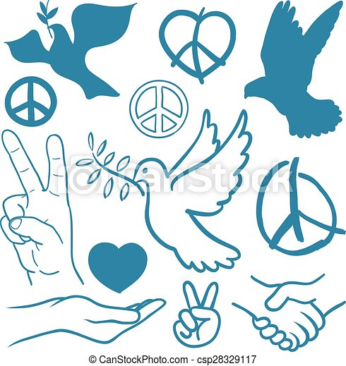 Collection Of Peace And Love Themed Icons With White Doves Flying
