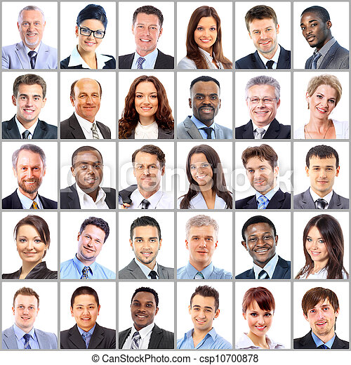 Collection of portraits of business people - csp10700878