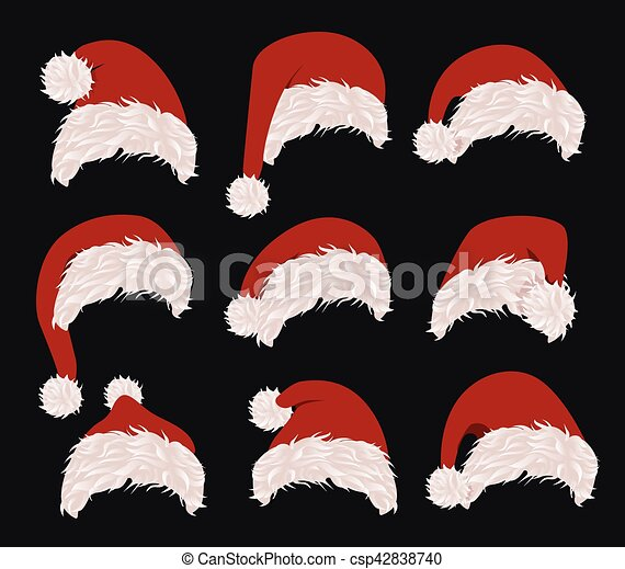 6e05d14aeb591 Collection Of Red Santa Hats. Vector Illustration. New Year Accessory On  Black Background. Isolated