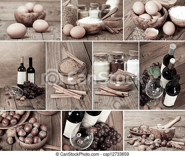 collection of red wine, eggs, cinnamon and nuts on wooden table - csp12733659