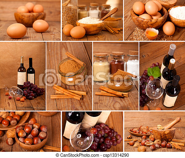 collection of red wine, eggs, cinnamon and nuts on wooden table - csp13314290