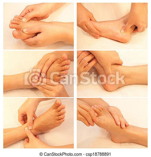 Collection of reflexology foot massage, spa foot treatment - csp18788891