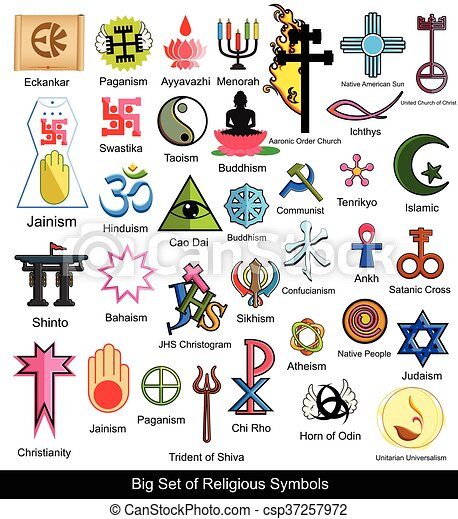 Collection Of Religious Symbols Vector Illustration Designs Vectors