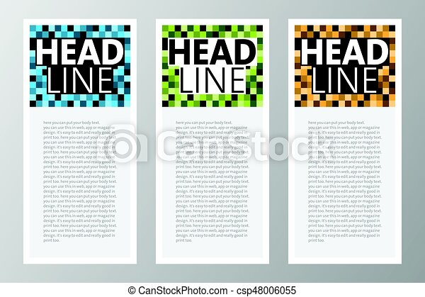 Collection Of Retro Square Blocks Pixels Text Box For Web App Magazine Etc Vector Template