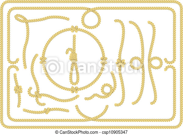 Collection of rope design elements - csp10905347