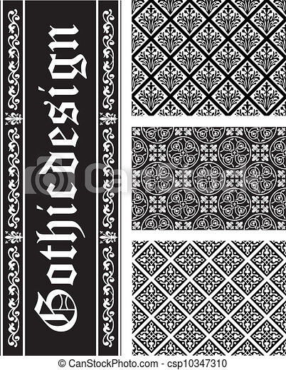 Collection of seamless black-and-white gothic floral vector textures - csp10347310