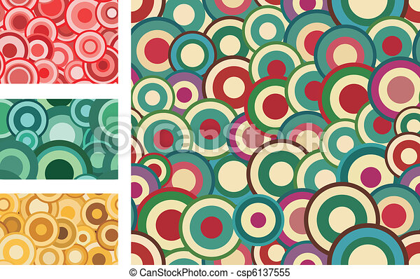 Collection of seamless vector retro patterns with circles - csp6137555