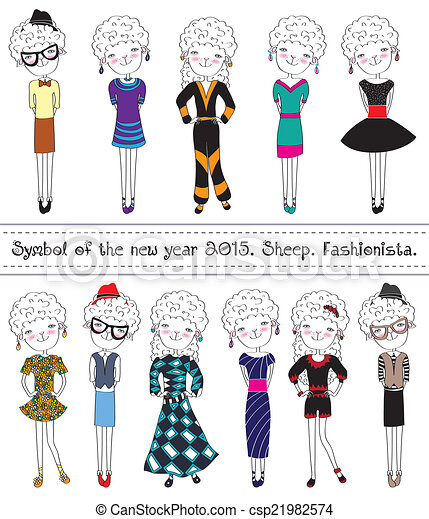Collection of sheep. Fashionable characters. Symbol 2015. - csp21982574