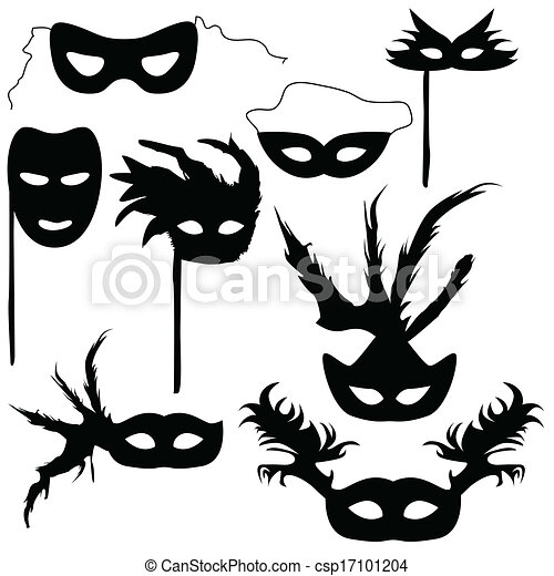 Collection of silhouettes carnival masks - csp17101204