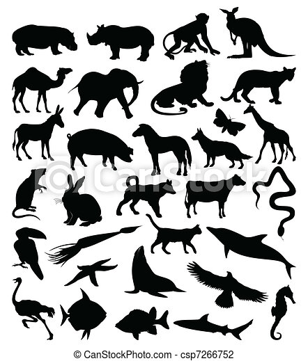 Collection of silhouettes of animals3 - csp7266752