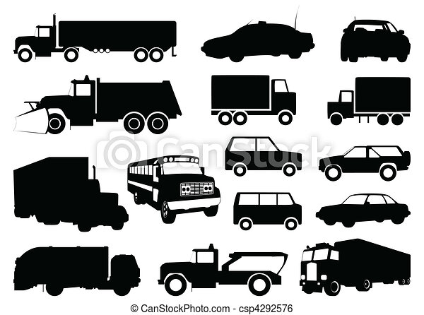 Collection of silhouettes of cars. A vector illustration - csp4292576