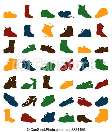 Collection of silhouettes of footwear. A vector illustration - csp3384459