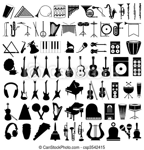 Collection of silhouettes of musical instruments. A vector illustration - csp3542415