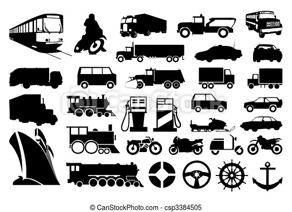 Collection of silhouettes of various transport. A vector illustration - csp3384505