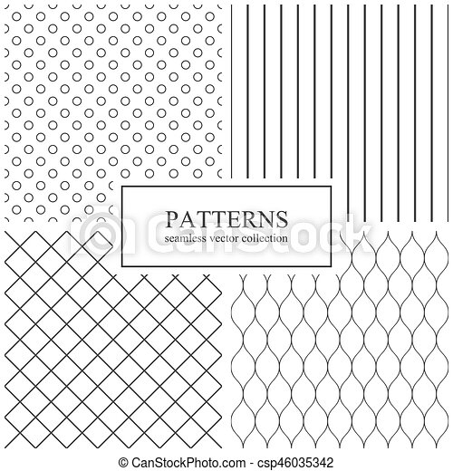 Collection Of Simple Seamless Geometric Patterns.   Csp46035342