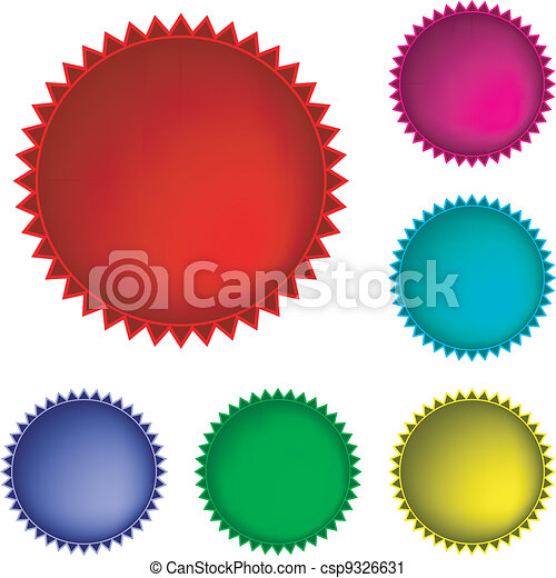 Collection of six glossy buttons in various colors - csp9326631