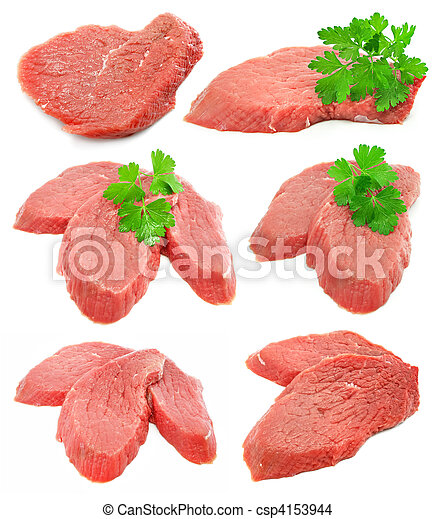collection of sliced meat with green parsley leafs - csp4153944
