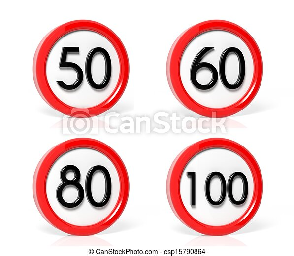 Collection of speed limit signs isolated on white background - csp15790864