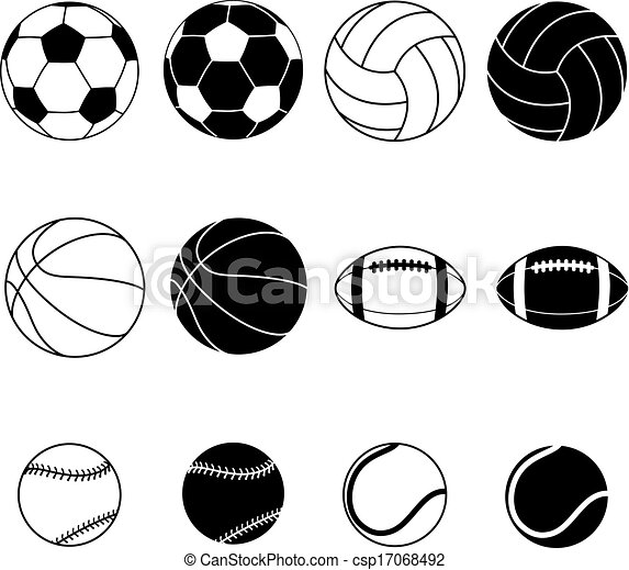 Collection Of Sport Balls Collection Of Black And White Sports Balls Vector Illustration Silhouettes