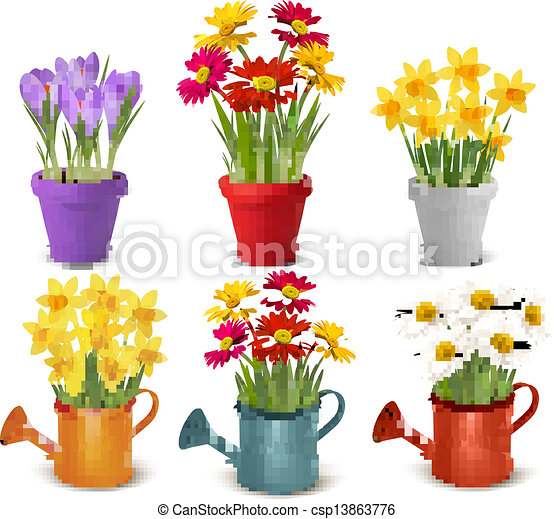 Collection of spring and summer colorful flowers in pots and watering can. Vector - csp13863776