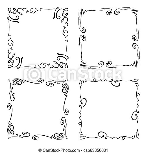 Collection of Squiggly Vector Frames  Rectangles for image  Hand drawn  black highlighting borders isolated on the white background  Doodle effect