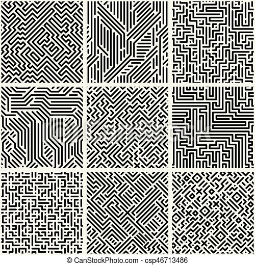 Collection Of Striped Seamless Geometric Patterns.   Csp46713486